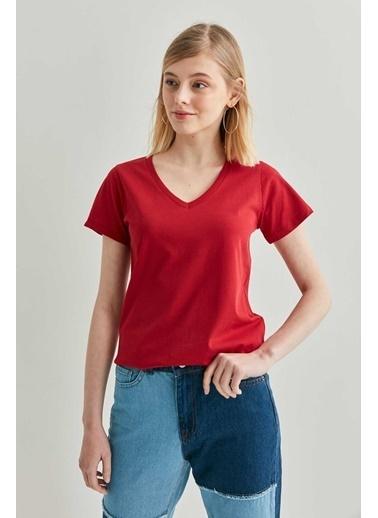 Vitrin VİTRİN V Yaka Kısa Kol Pamuk T-Shirt Kırmızı